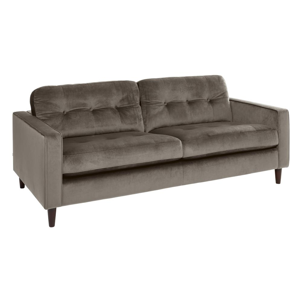 Bergen three seater sofa grey velvet