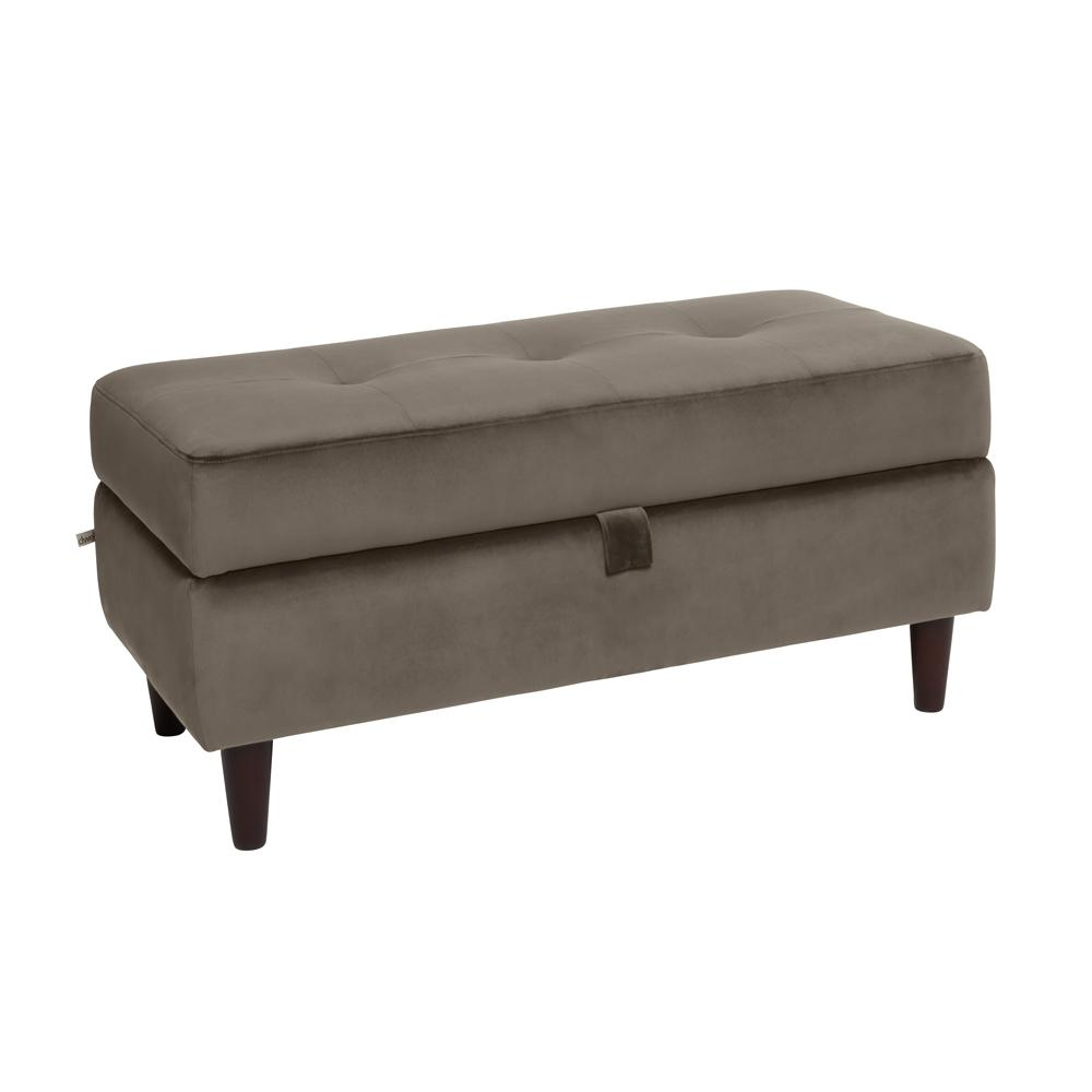 Bergen storage footstool grey velvet