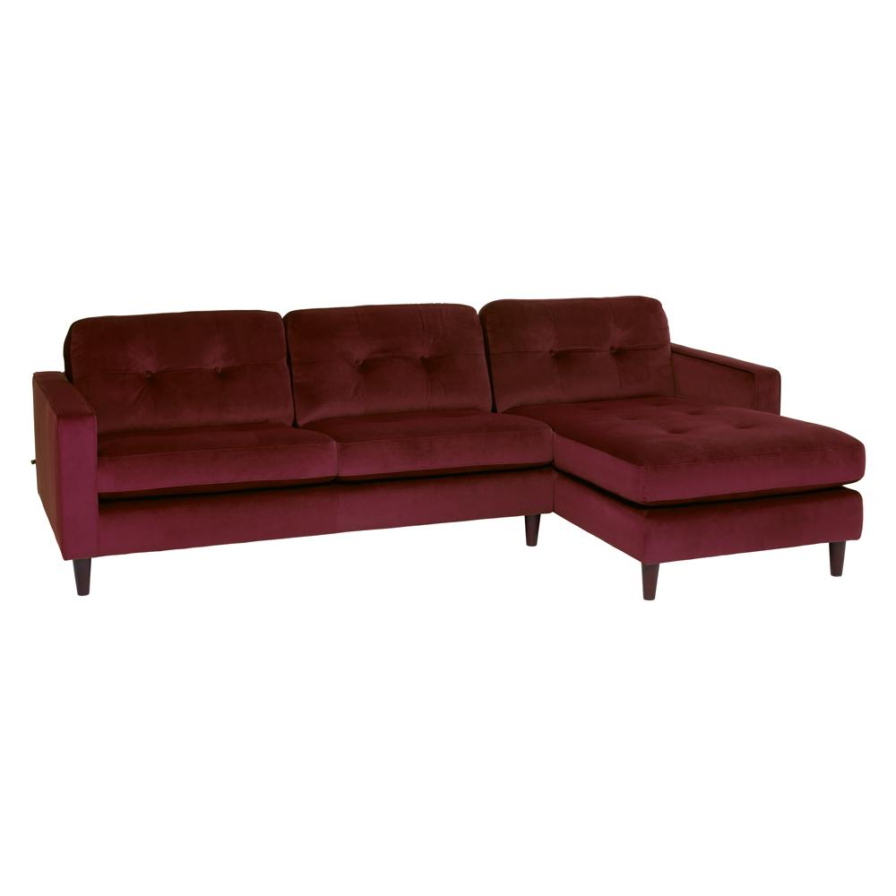 Bergen right hand facing four seater chaise sofa alba velvet burgundy