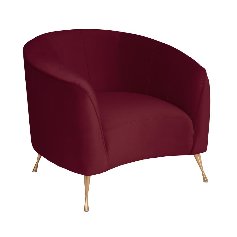 Bordeaux curve accent chair burgundy velvet