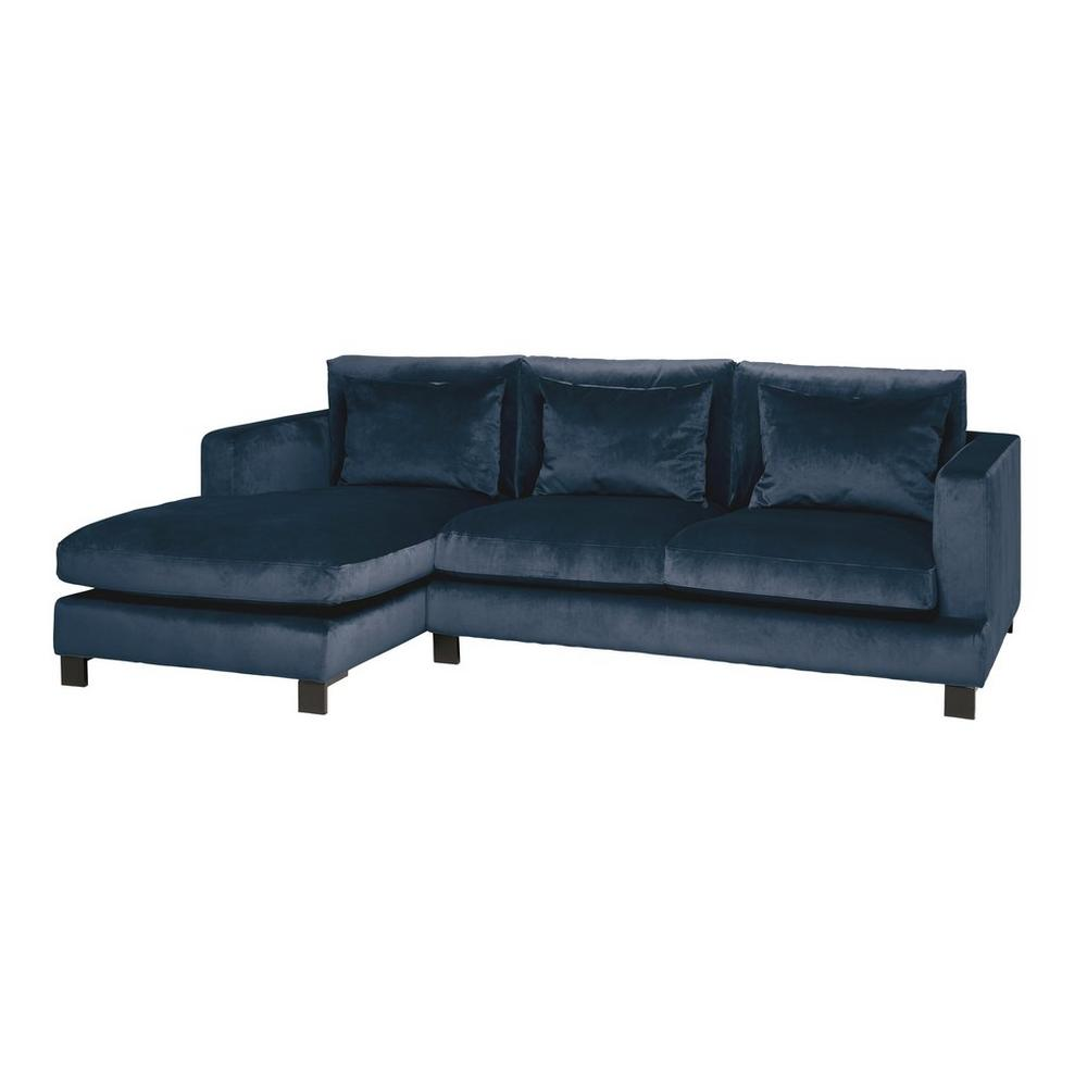 Lugano II left hand facing four seater chaise sofa alba velvet blue