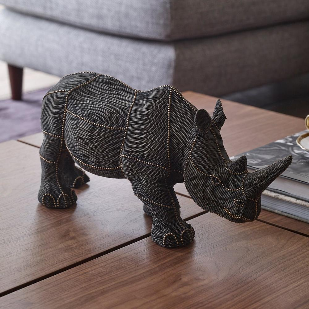 Ronte decorative rhino brown and gold