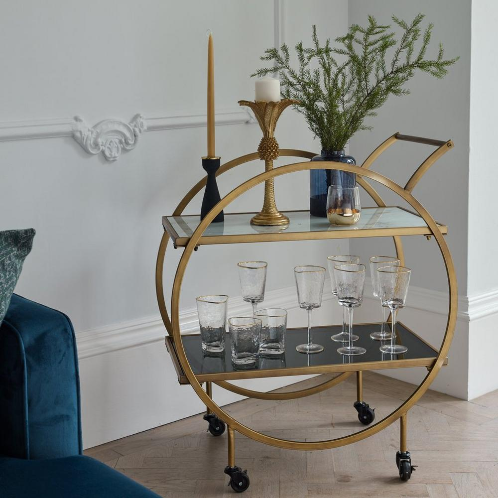 Cerchio drinks trolley marble and brass