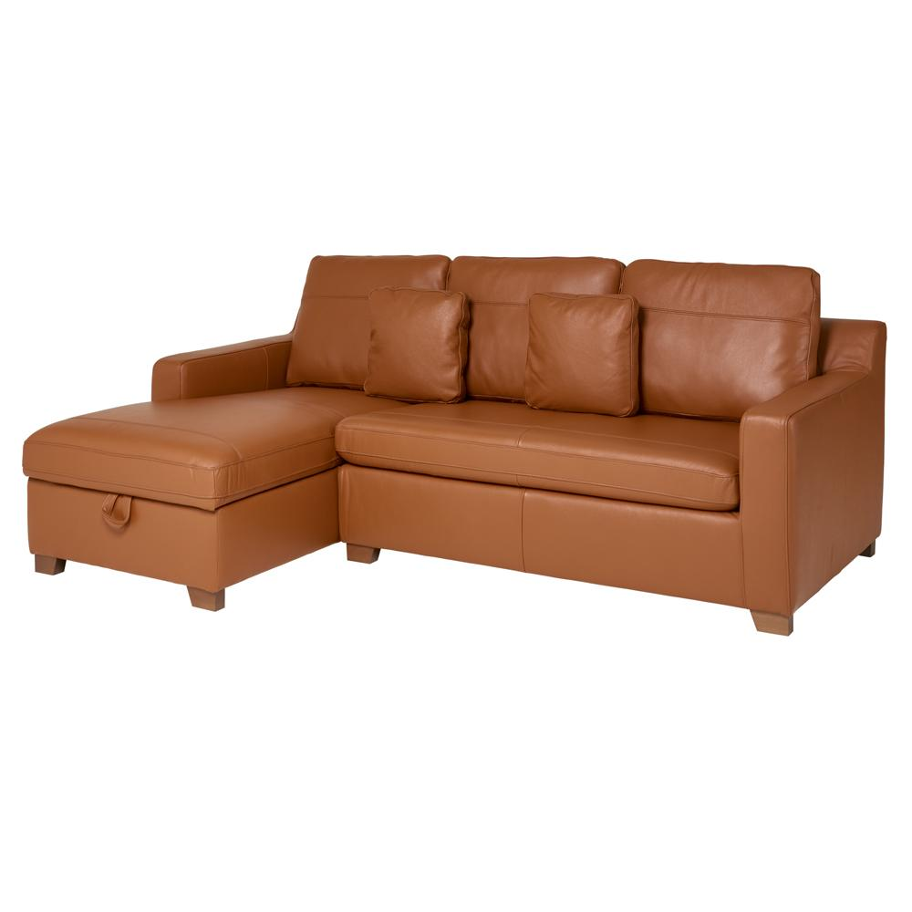 Ankara II left hand facing three seater chaise storage sofabed grano leather natural tan