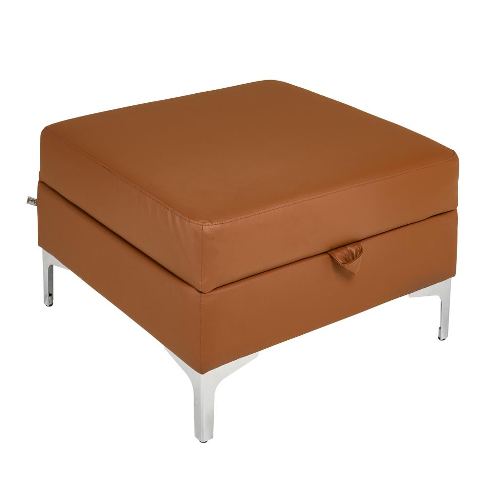 Savio storage footstool  natural tan leather