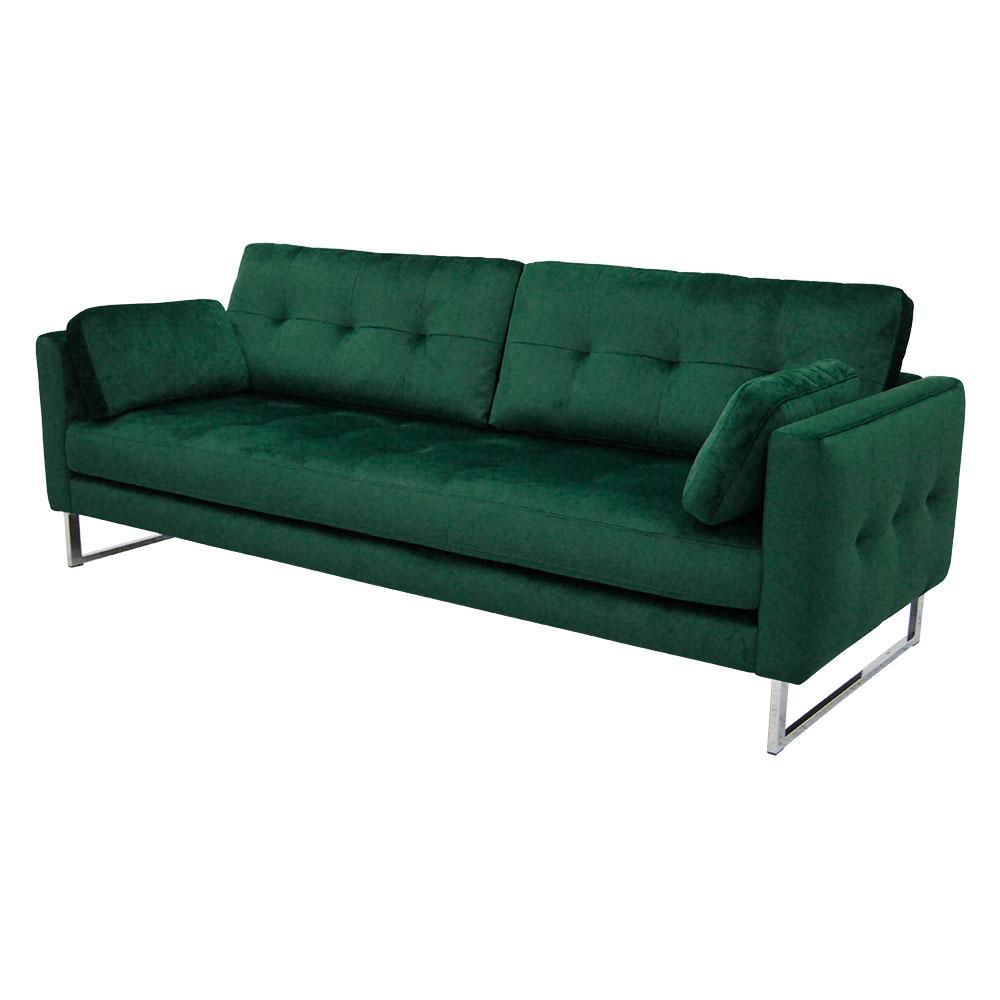 Paris three seater sofa forest green velvet