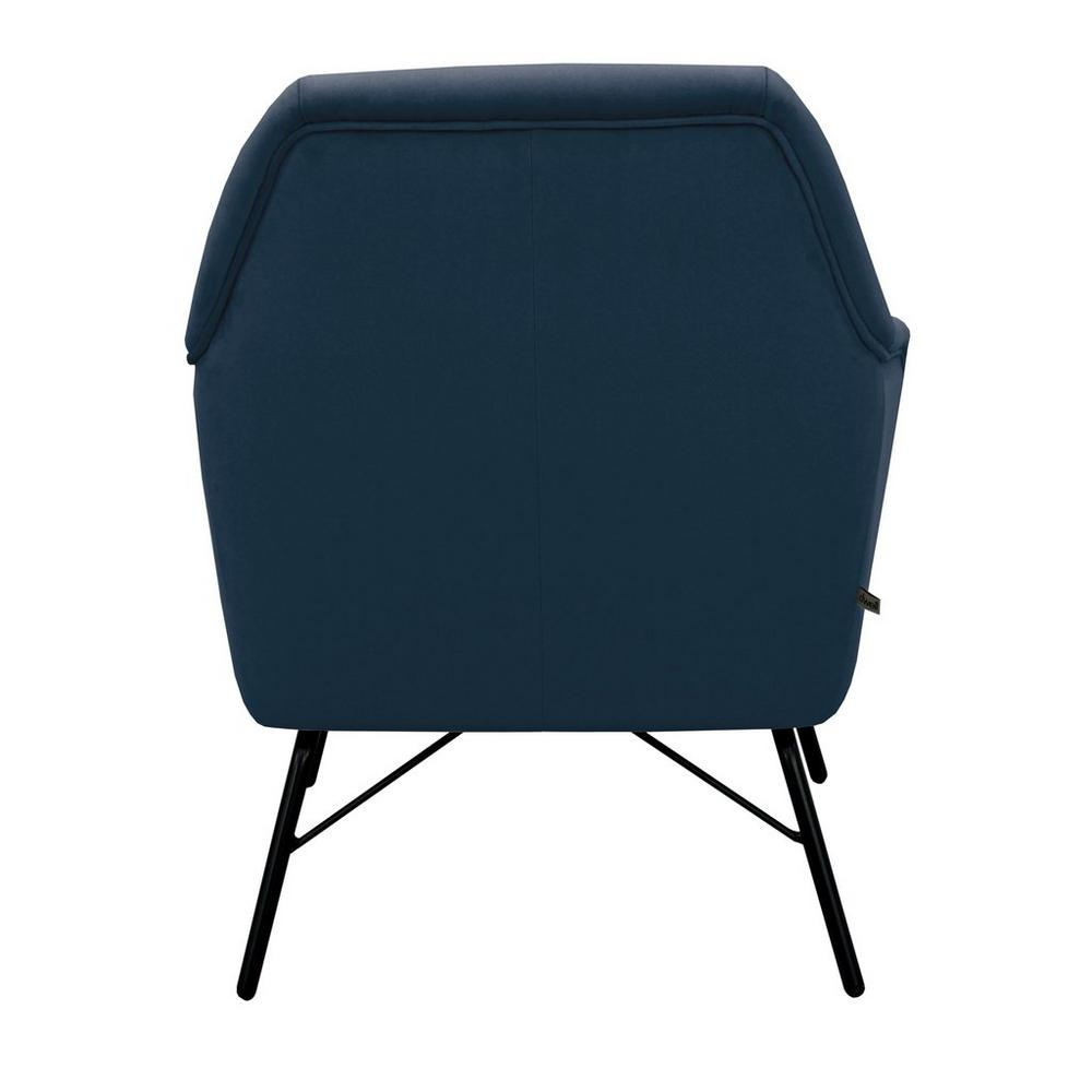 Acuta velvet accent chair blue with black legs