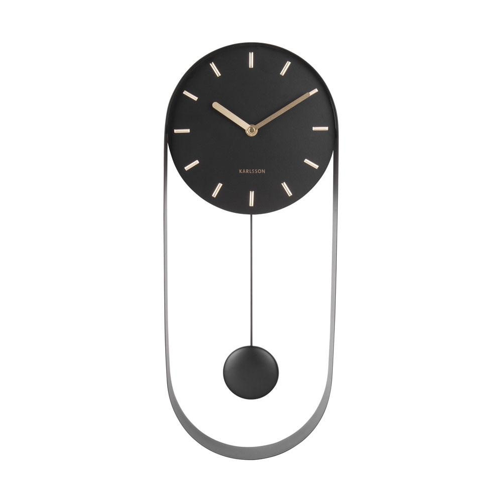 Pendo pendulum wall clock steel black