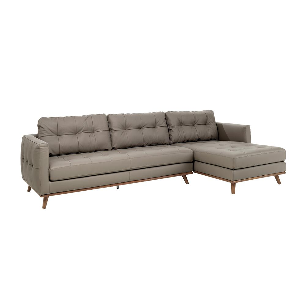 Albi right hand facing four seater chaise sofa grano leather dove grey