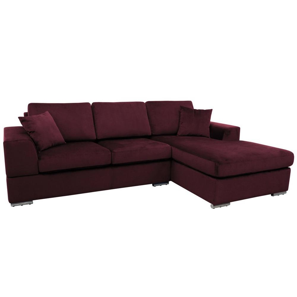 Varenna right hand facing arm four seat chaise end sofa alba velvet burgundy