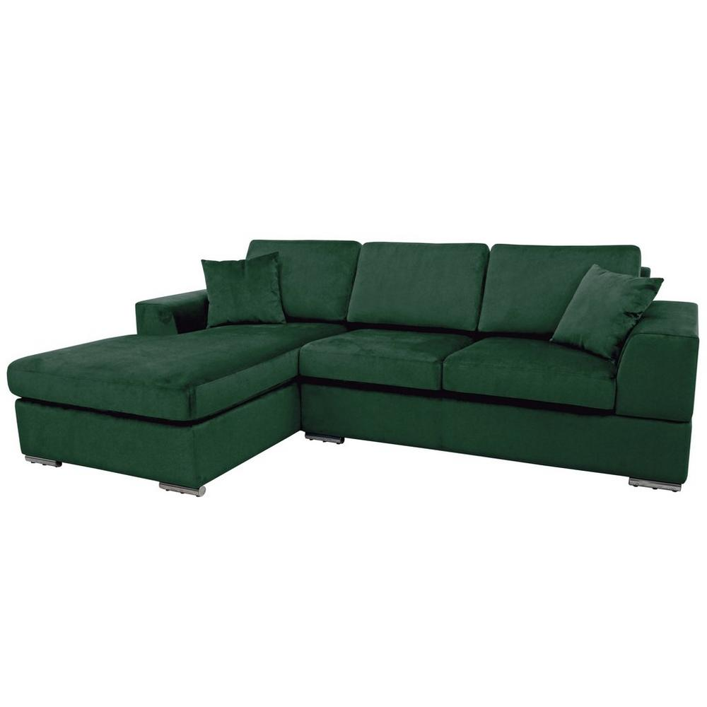 Varenna left hand facing arm four seat chaise end storage sofabed alba velvet forest green