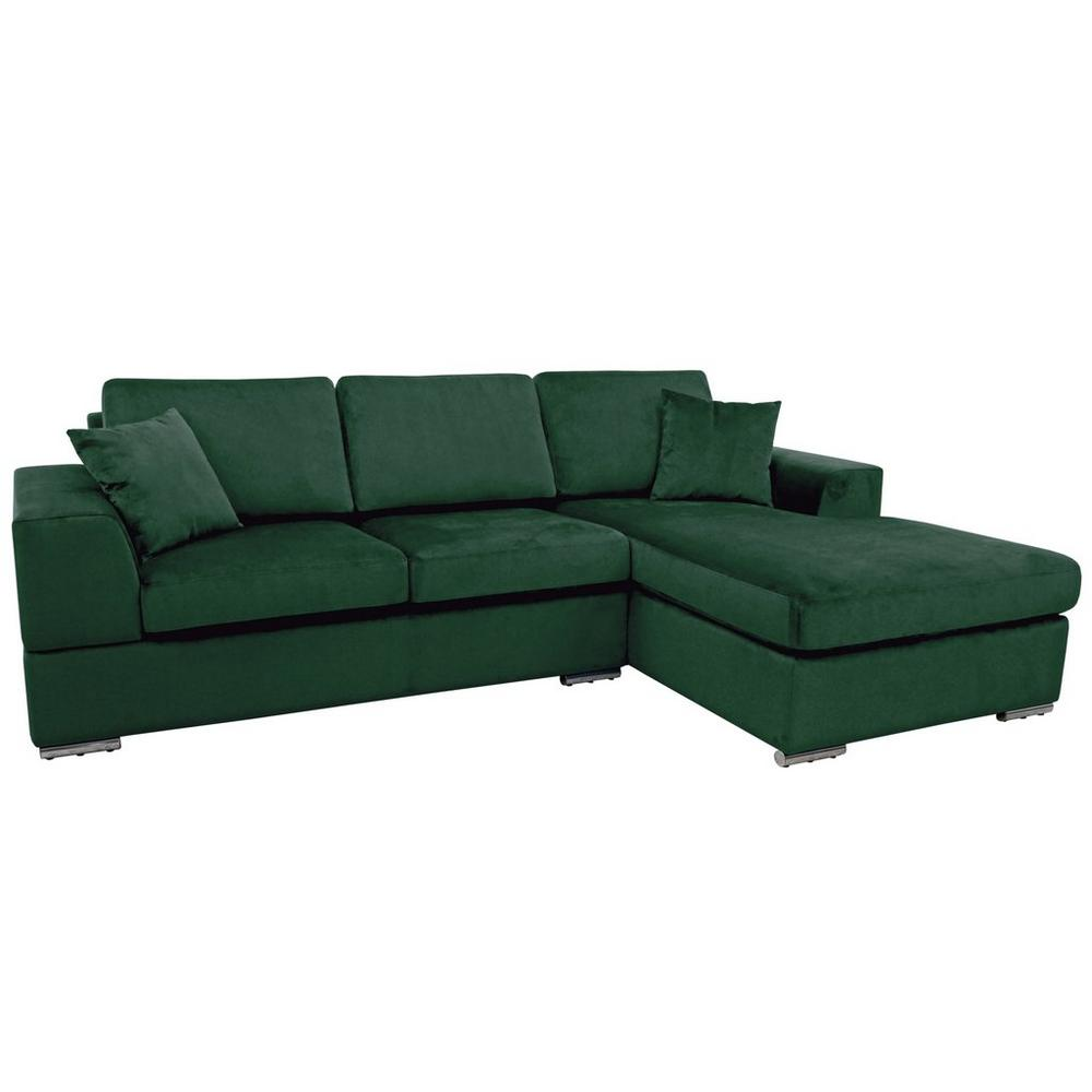 Varenna right hand facing arm four seat chaise end storage sofabed alba velvet forest green