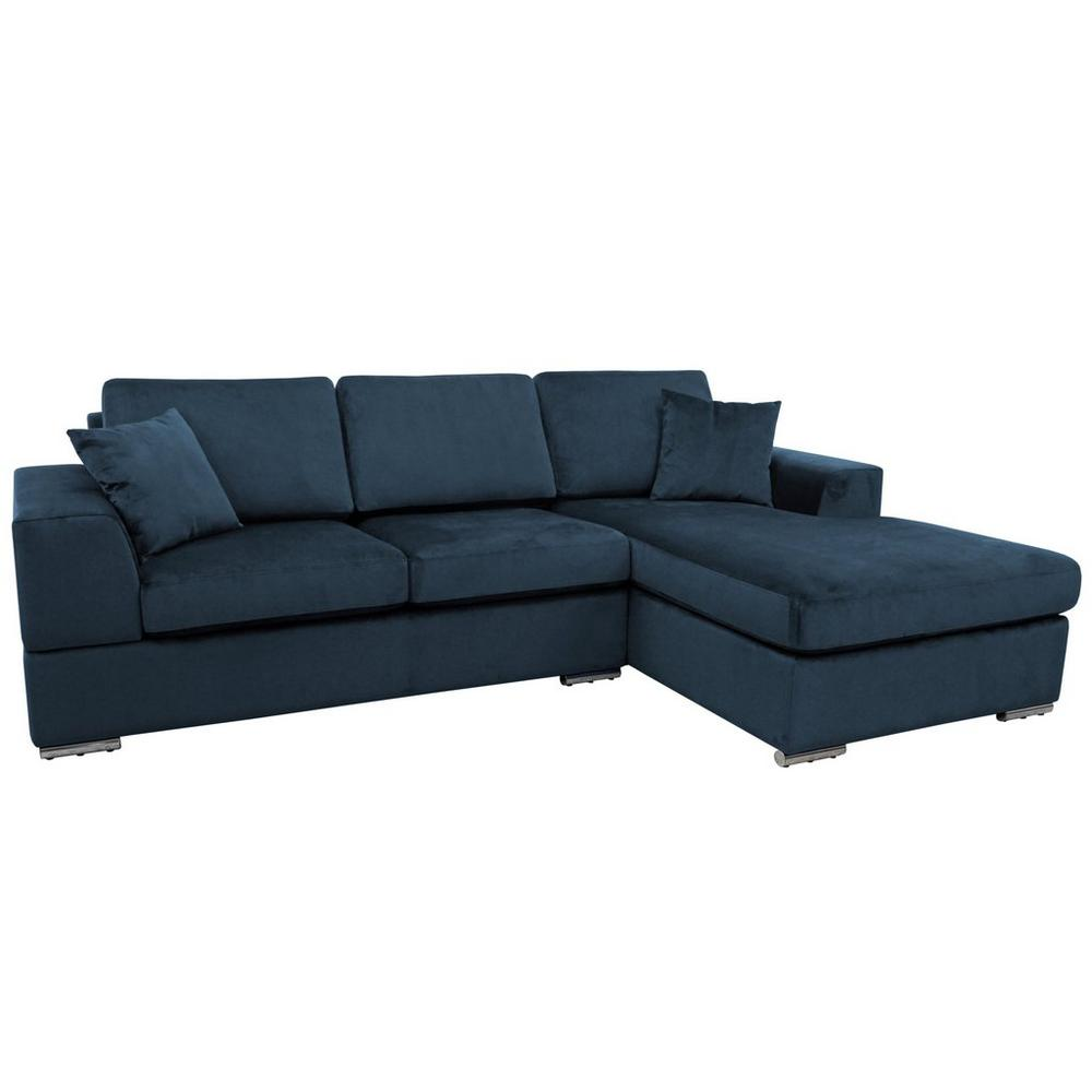 Varenna right hand facing arm four seat chaise end storage sofabed alba velvet blue