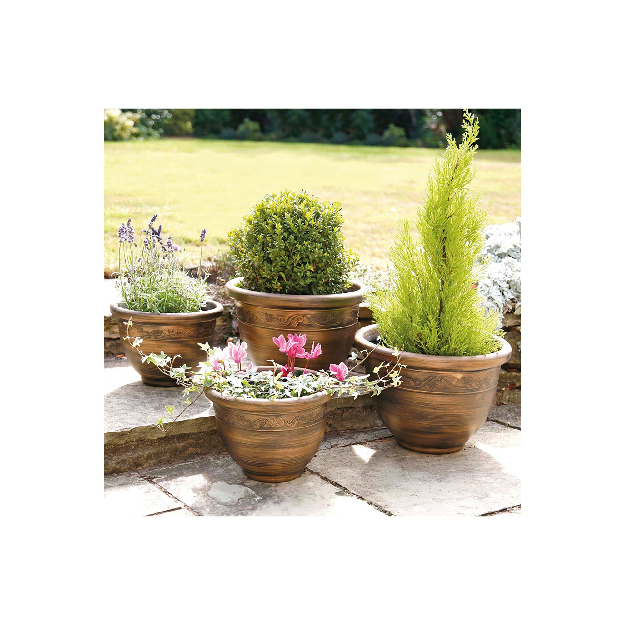 Image of Set of 4 Antique Look Planters