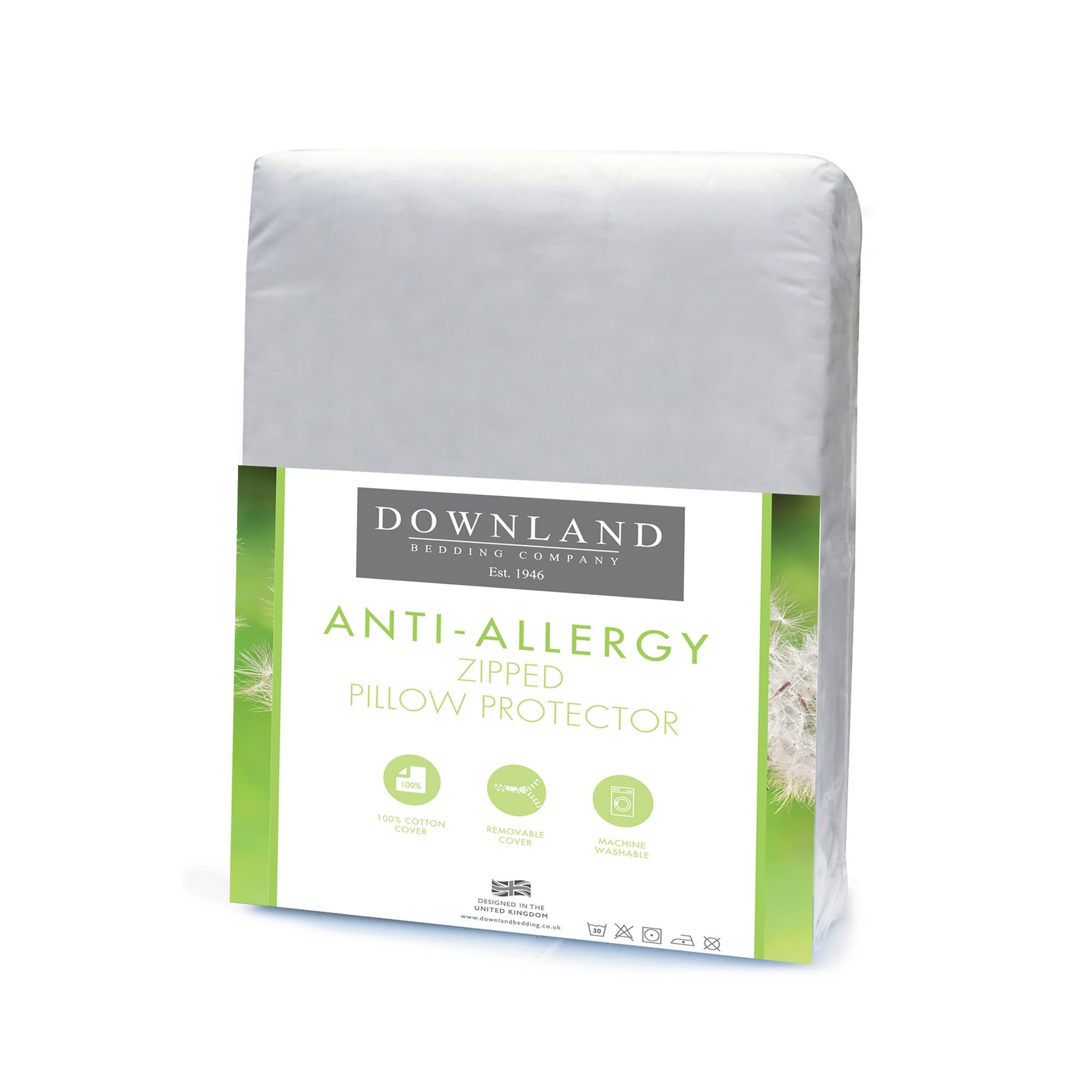 Image of Downland Zipped Anti-Allergy Pillow Protector