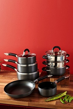 Hard Anodised Pan Set With 2 FREE Steamers