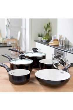 5-Piece Black Aluminium Pan Set
