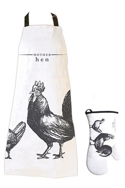 Victoriana - Mother Hen Apron and Oven Glove Set