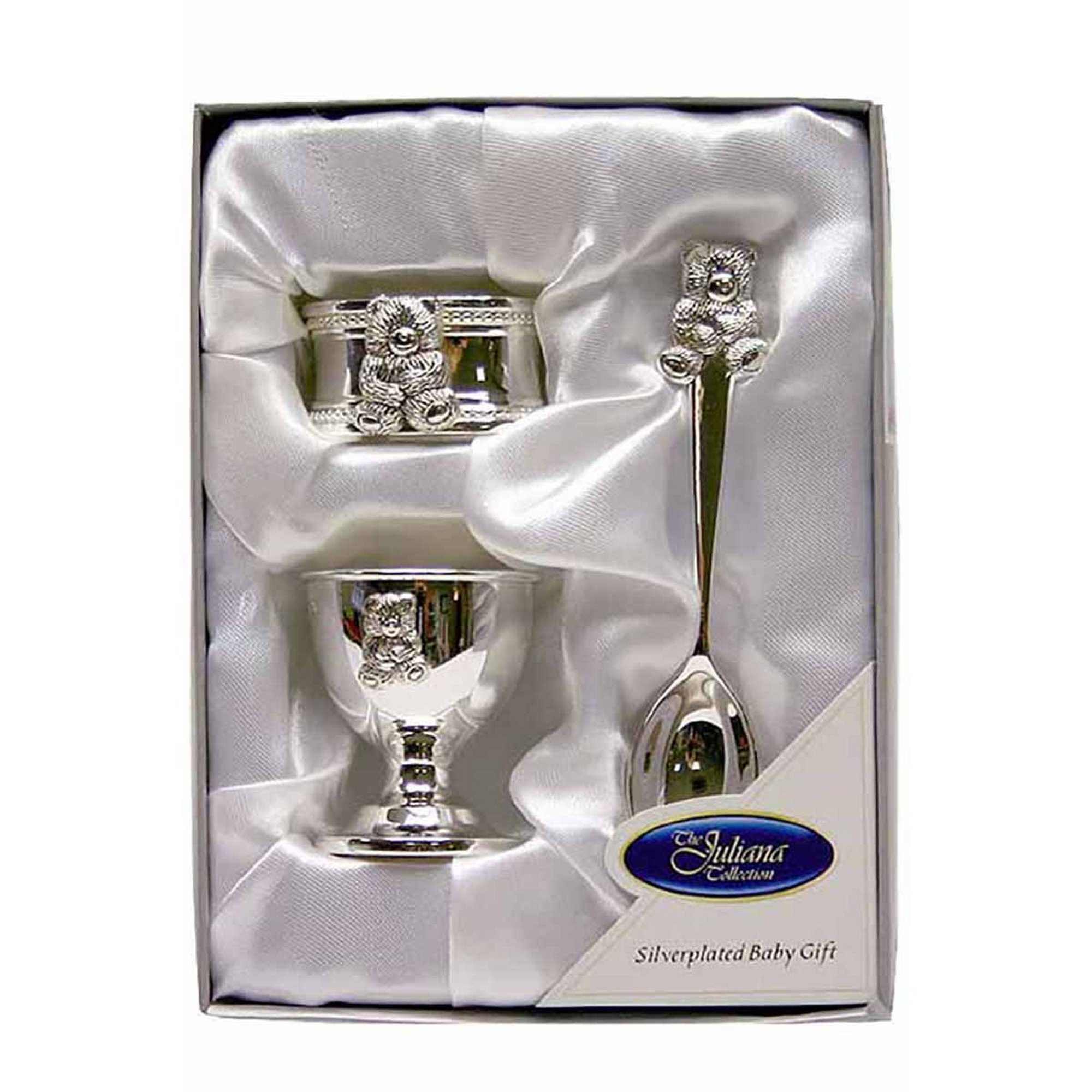 Image of Silver Plated Teddy Egg Cup&#44 Napkin Ring And Spoon Set