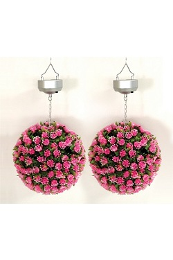 Pair Of Flower Bay Ball Solar Lights