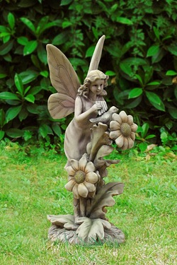 Fairy With Bird Garden Ornament