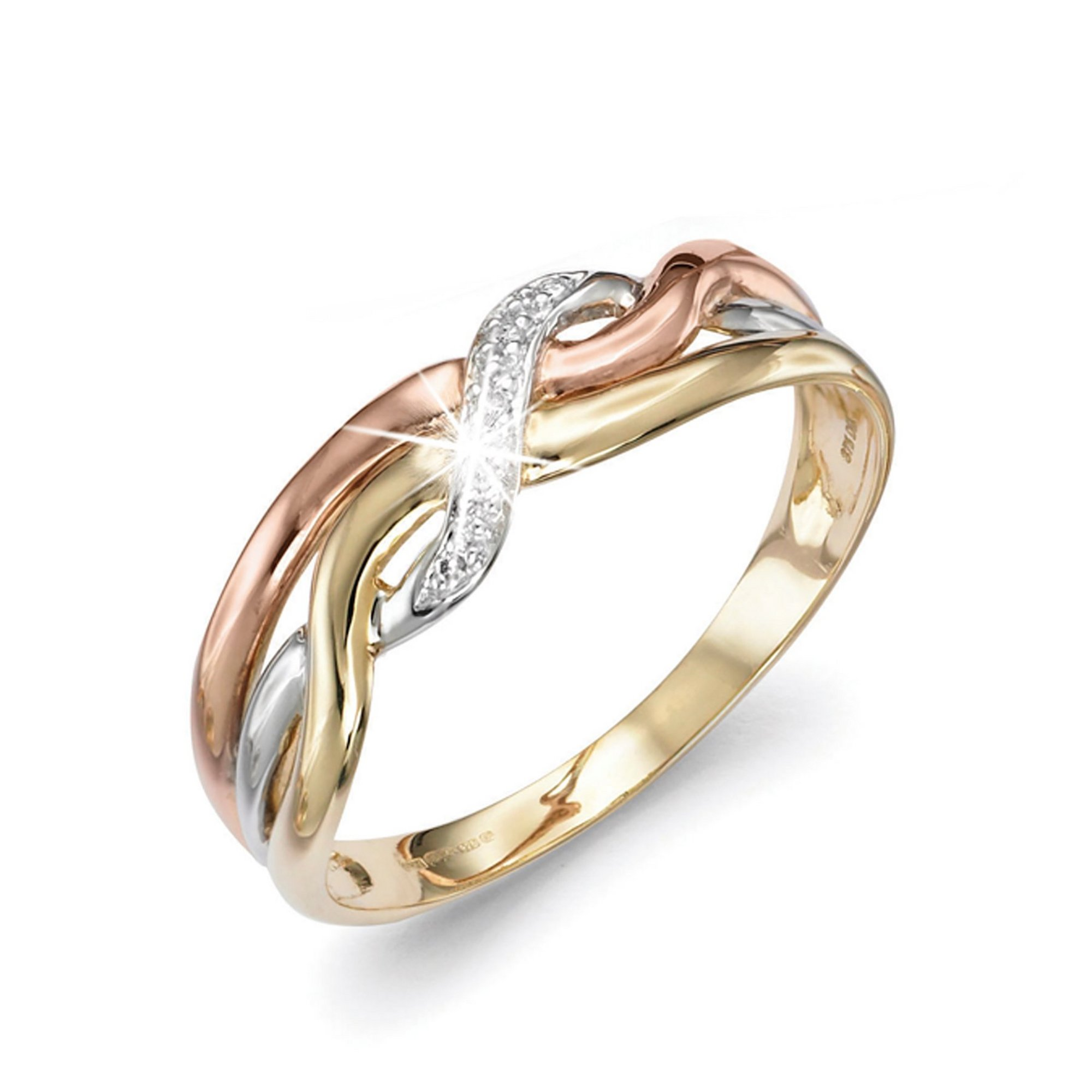 Image of 9ct 3 Colour Gold Ring