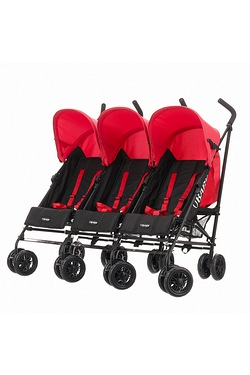 Obaby Mercury - Black/Red Triple Stroller from Birth