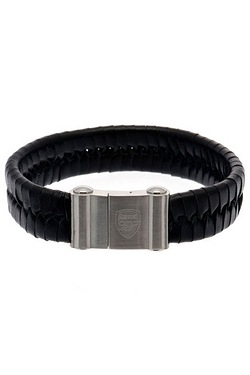 Arsenal Football Club Stainless Steel & Leather Crest Bracelet