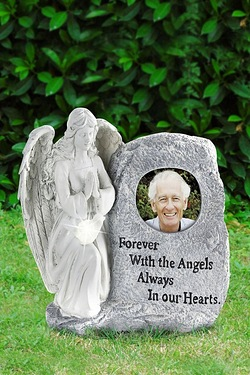 Photo Memorial Angel Plaque with Solar Light