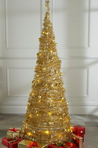 image for champagne lit and decorated pop up christmas tree from studio