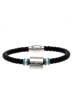 Manchester City Football Club Stainless Steel/Leather Bracelet