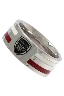 Arsenal Football Club Stainless Steel Striped Band Ring