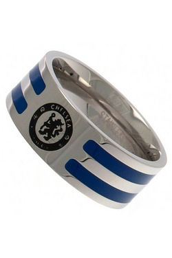 Chelsea Football Club Stainless Steel Striped Band Ring