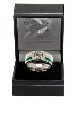 Celtic Football Club Stainless Steel Striped Band Ring