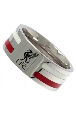 Liverpool Football Club Stainless Steel Striped Band Ring