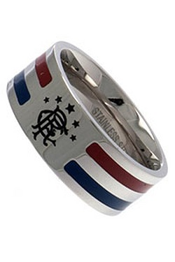 Rangers Stainless Steel Striped Band Ring