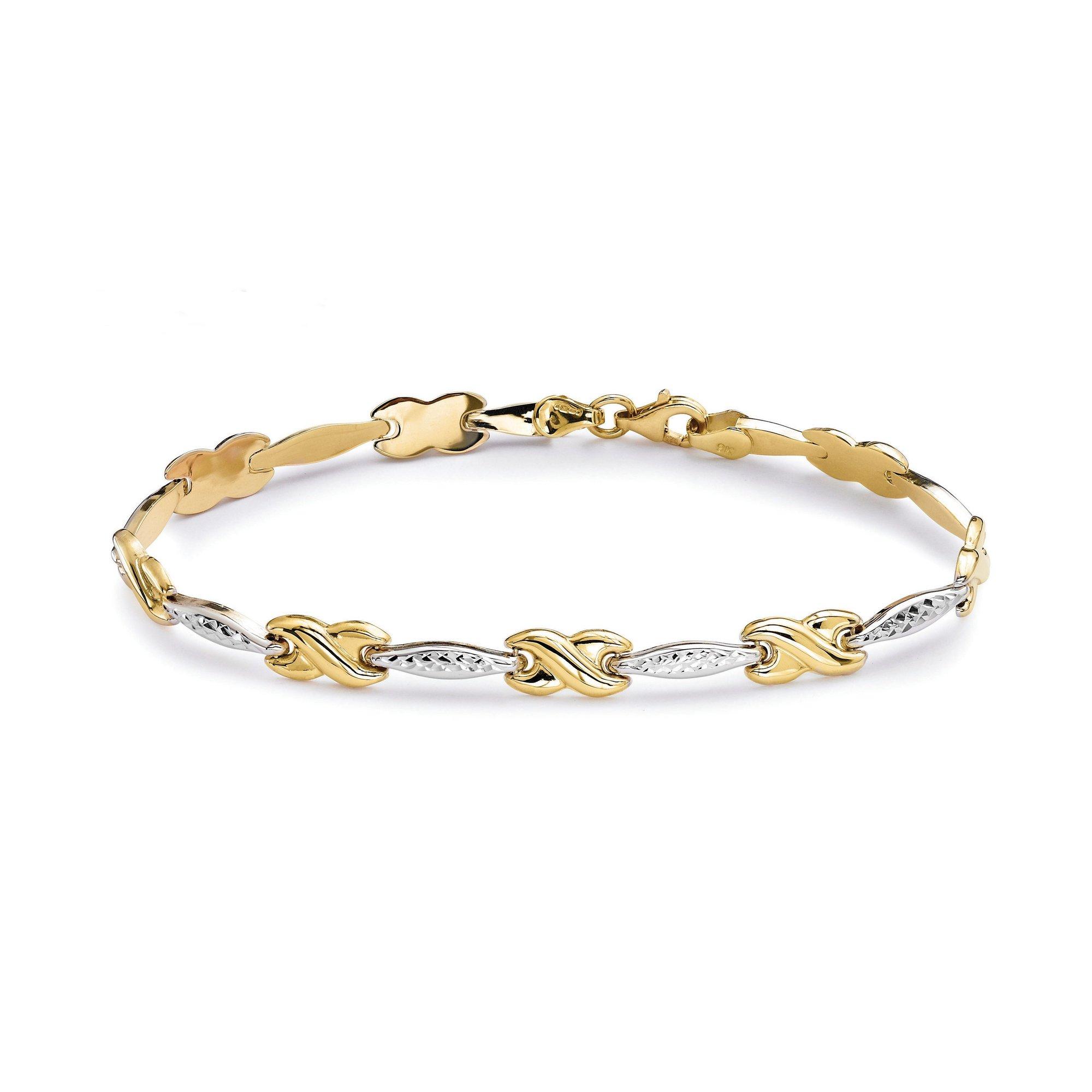 Image of 9ct Gold 2 Tone Kiss Bracelet