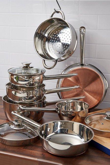 Sabichi 7 Piece Copper Bottom Pan Set Studio