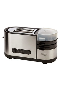 Giani 2 Slice Brushed Stainless Steel Toaster With Egg Cooker