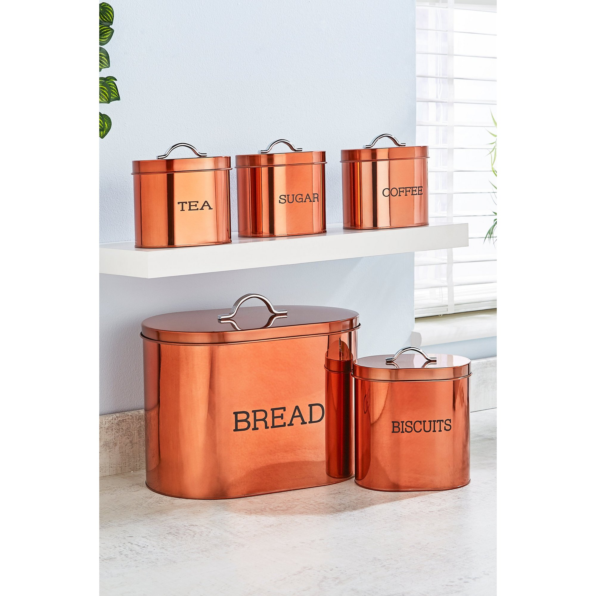 Image of 5-Piece Copper Coloured Oval Storage Set