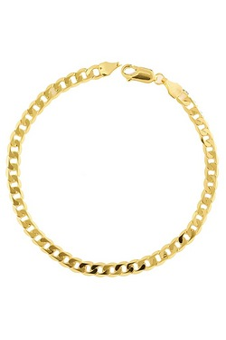"9ct Gold 120 Flat Diamond Cut Curb 7.5"" Bracelet"