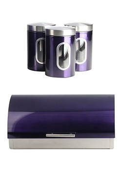 Stainless Steel Bread Bin And Canister Set