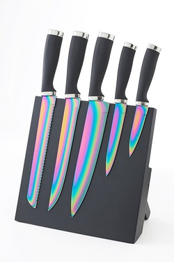 5 Piece Iridescent Knives With Magnetic Block