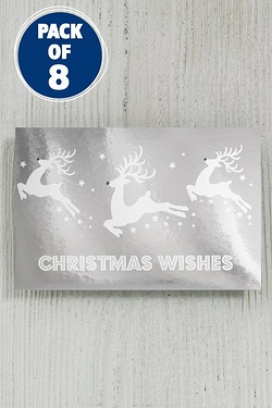 8 Silver and White Reindeer Foil Gift Tags