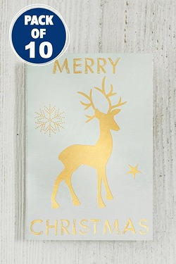 10 Cream and Gold Reindeer Gift Tags