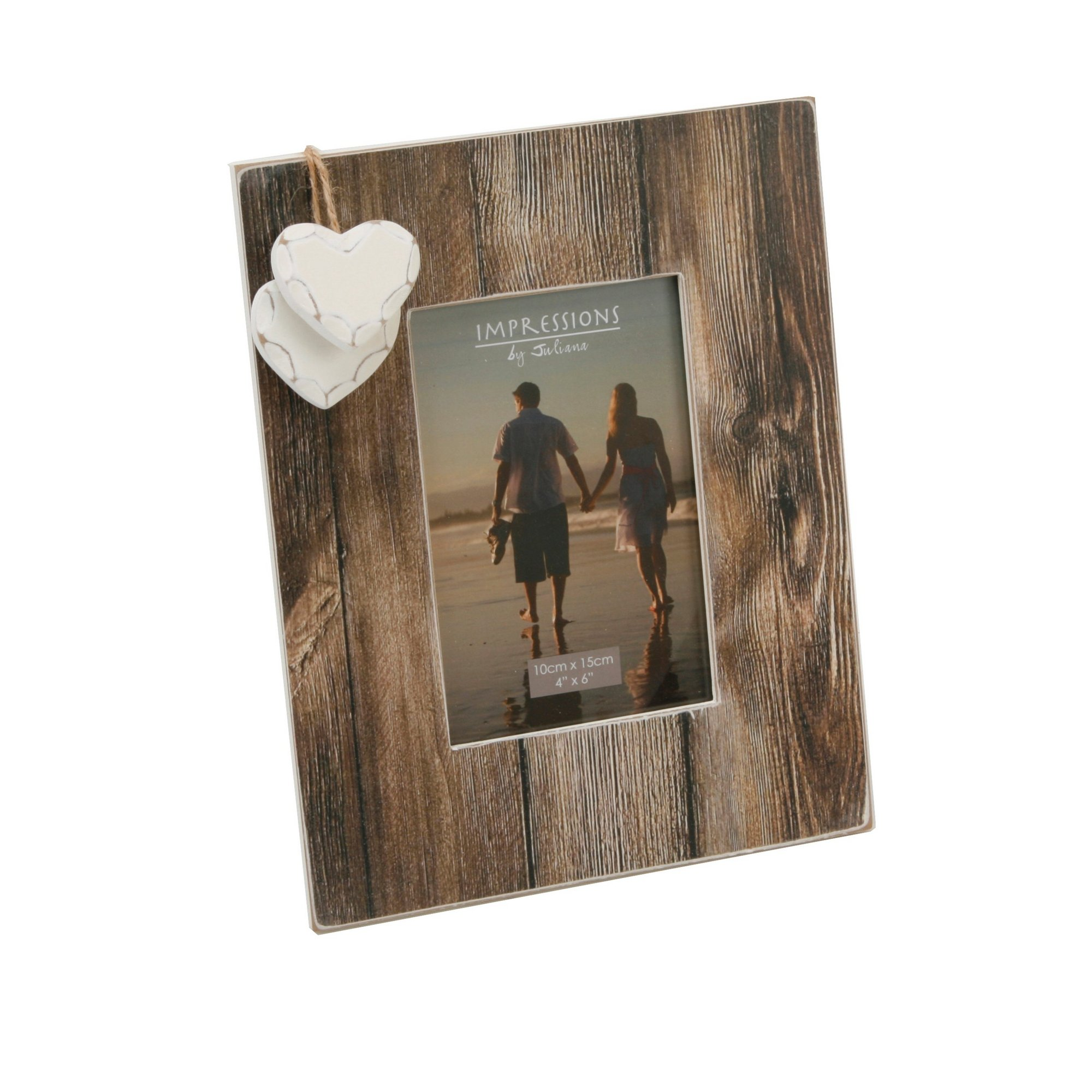 Image of Distressed Wood Two Heart Frame