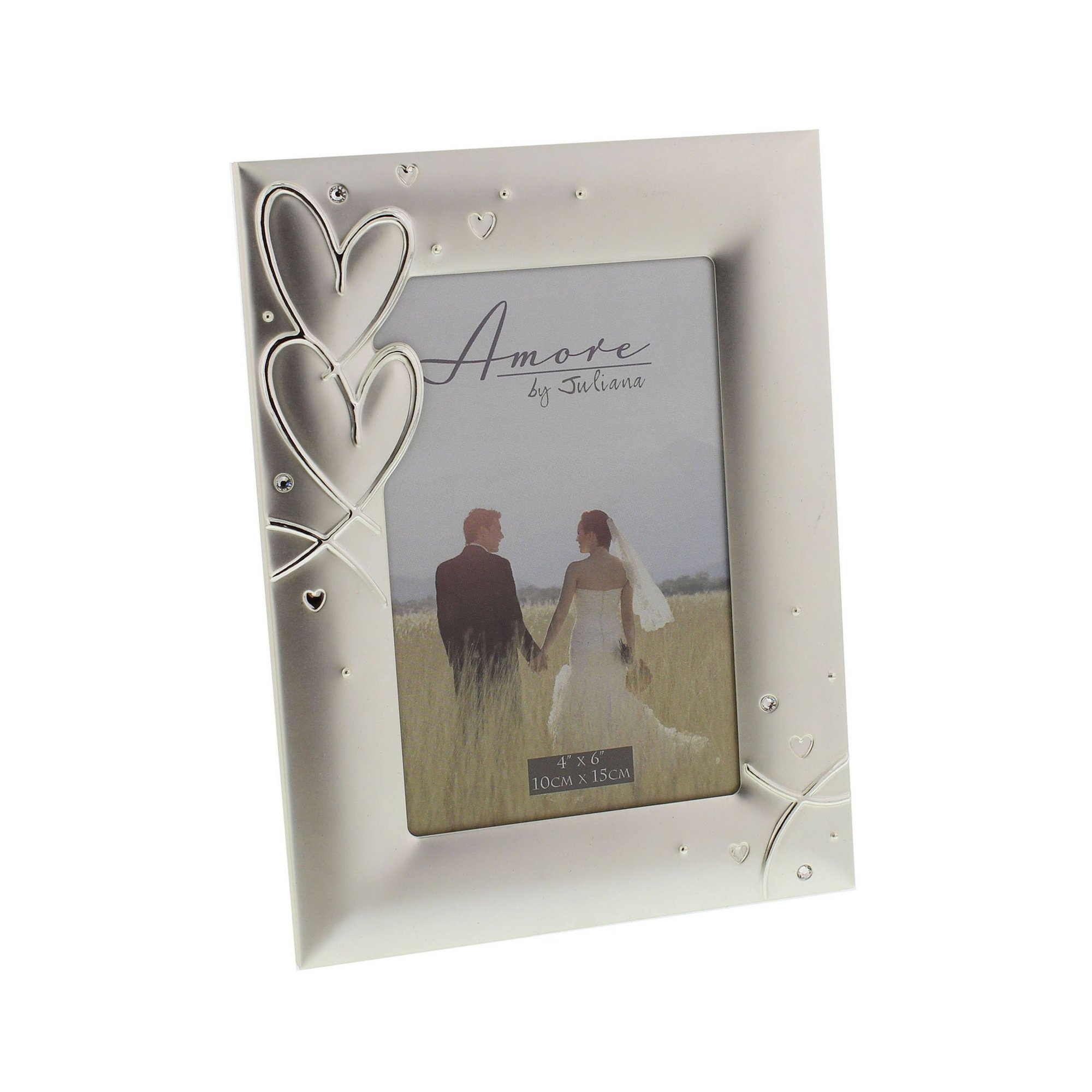 Image of Amore Silver Plated Frame with Hearts and Crystals
