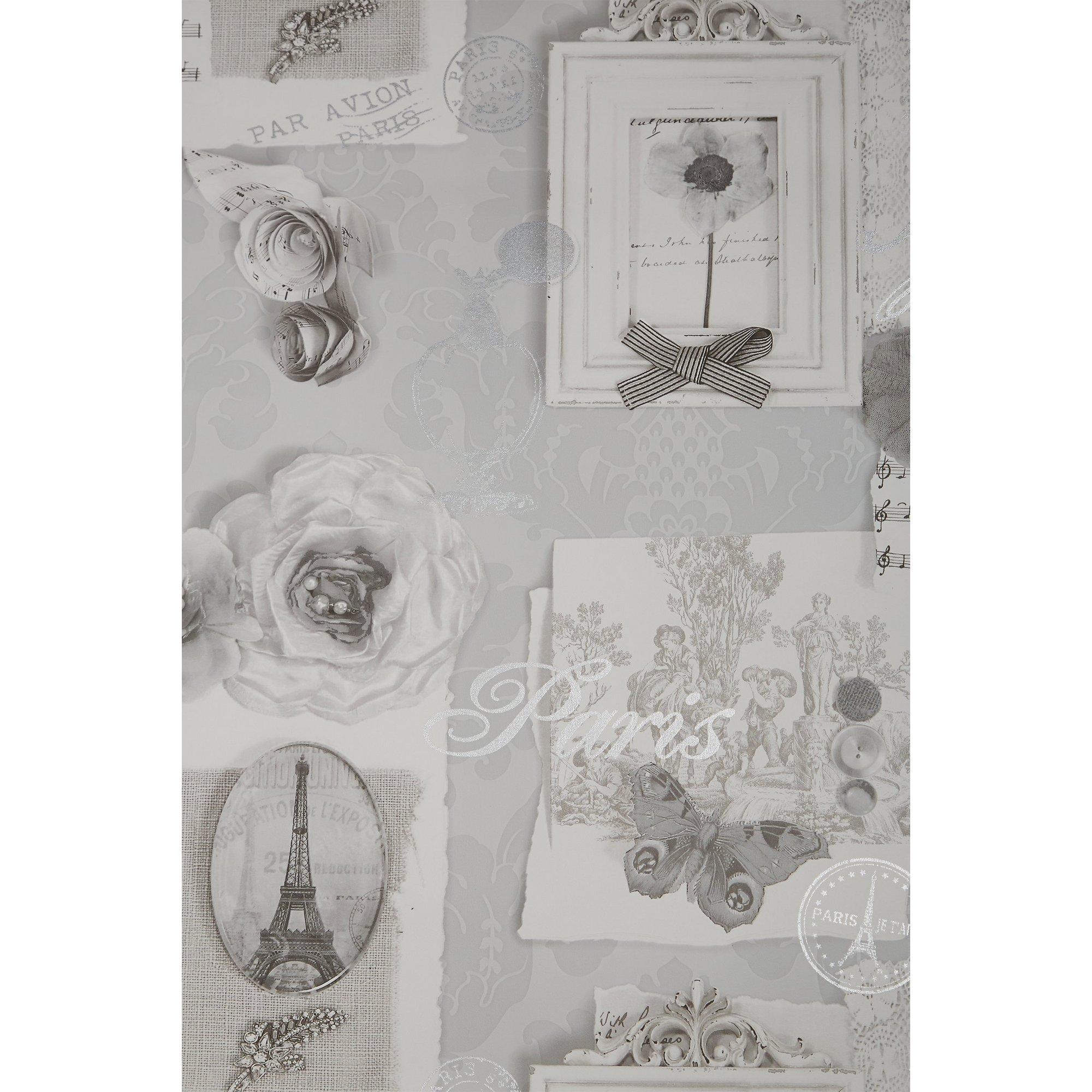 Felicity Silver Foiled Wallpaper