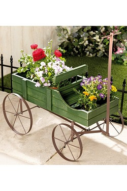Wooden Wagon Plant Holder