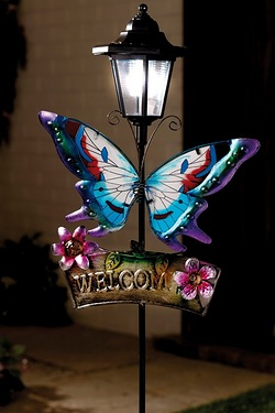 Solar Butterfly Welcome Sign Garden Stake